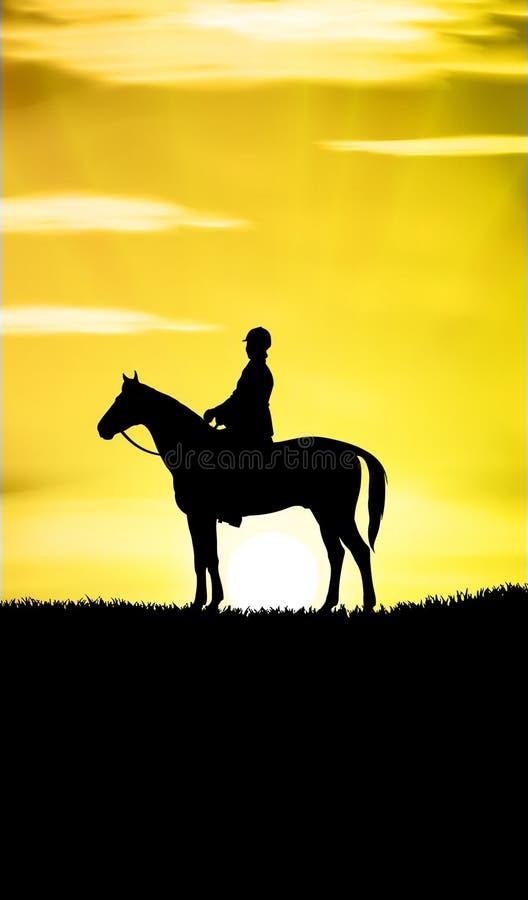 przejażdżka koński zmierzch ilustracja wektor