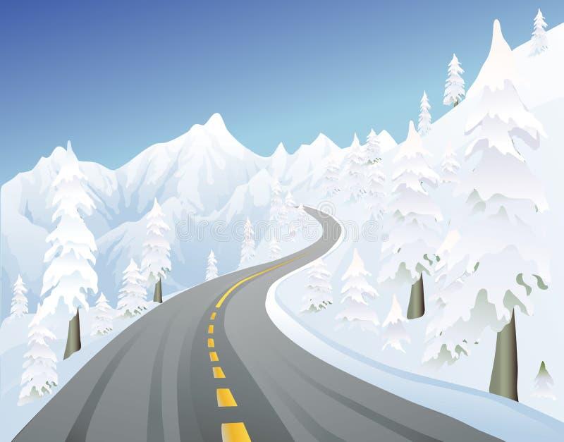 przejazd mountain zimy. ilustracji