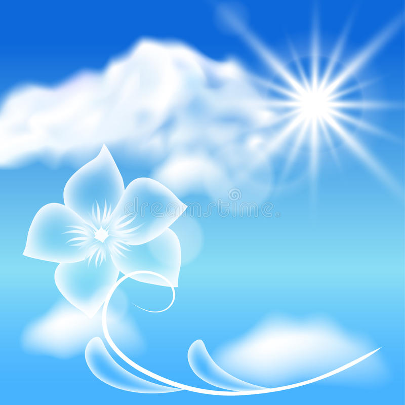 Przejrzyści kwiaty w niebieskim niebie ilustracji