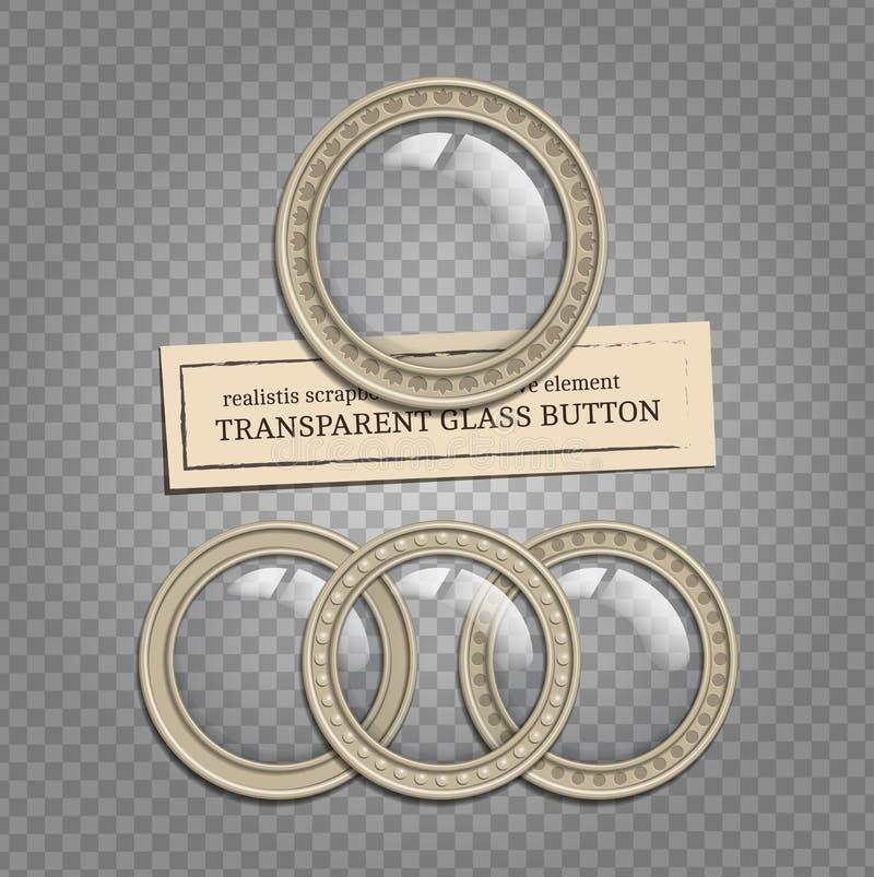 Przejrzyści szkło guziki ilustracji