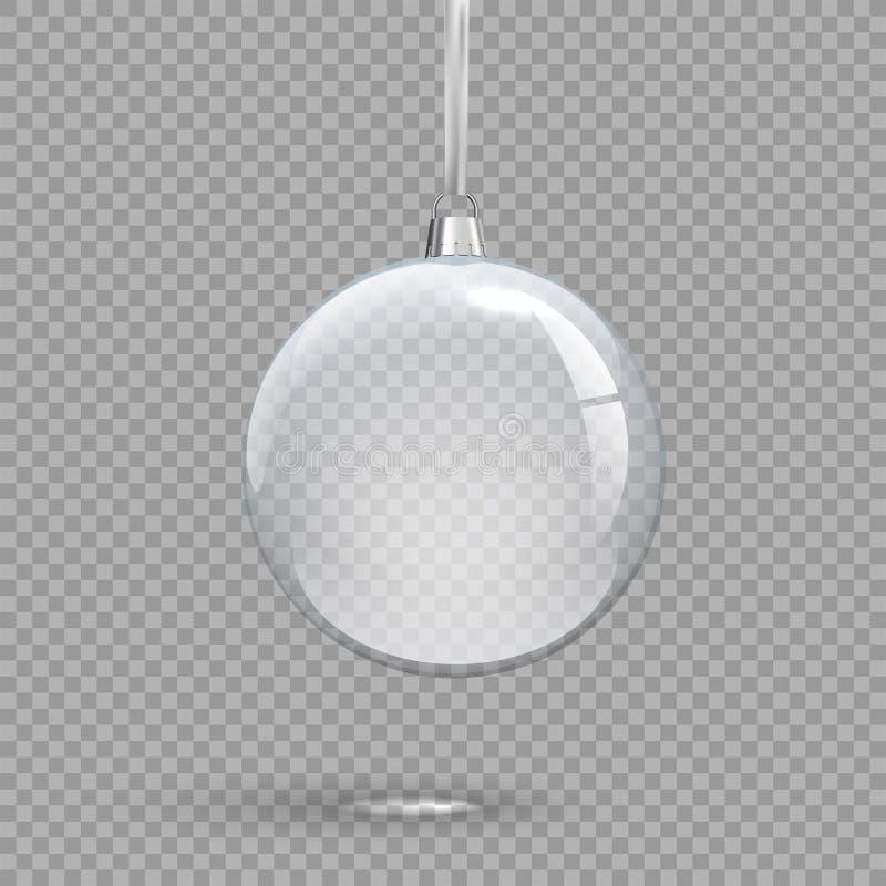 Przejrzysta Bożenarodzeniowa piłka odizolowywająca na przejrzystym tle Wektorowy wakacyjny projekta element ilustracja wektor