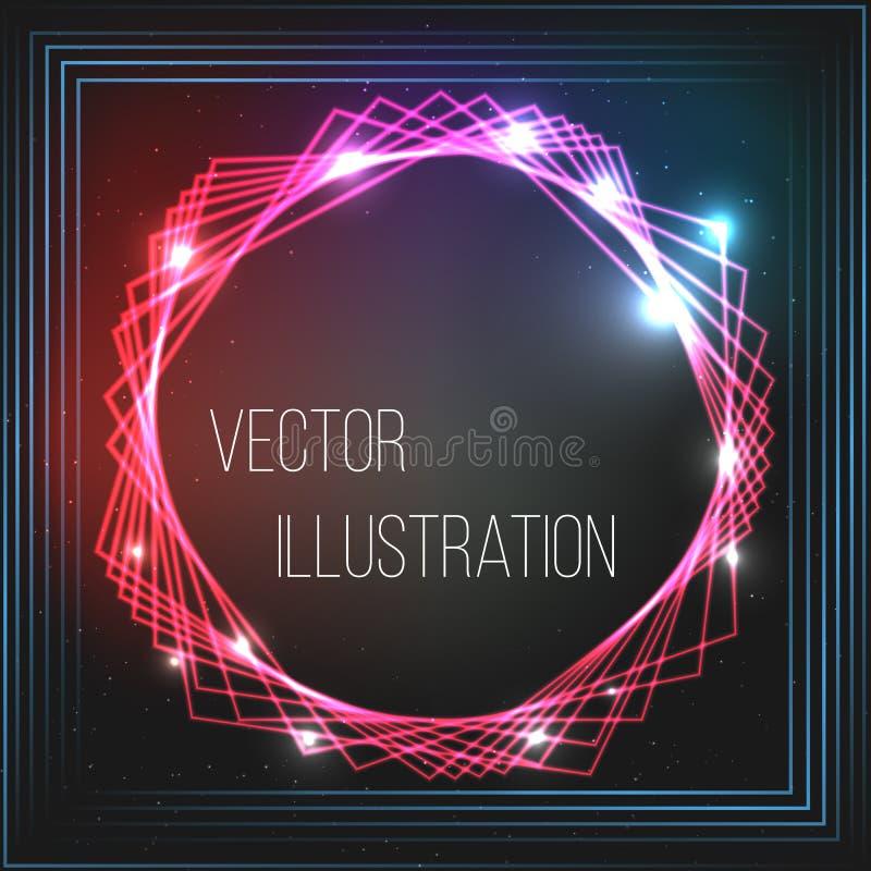 Przejrzysta czerwień, błękit, czarny sztandar Abstrakcjonistyczny rozjarzony wektorowy zakres Jaskrawy lekki skutek Neonowa rama  royalty ilustracja