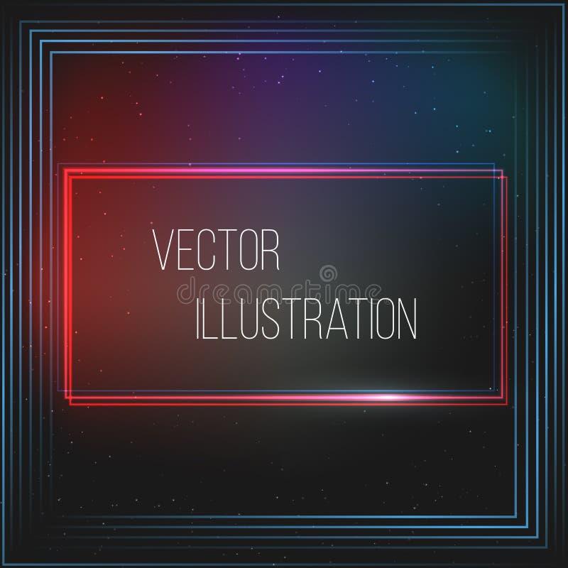 Przejrzysta czerwień, błękit, czerń, prostokątny sztandar Abstrakcjonistyczny rozjarzony wektorowy zakres Jaskrawy lekki skutek S royalty ilustracja