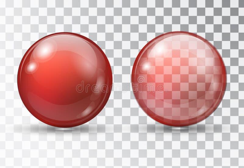 Przejrzysta czerwona piłka royalty ilustracja