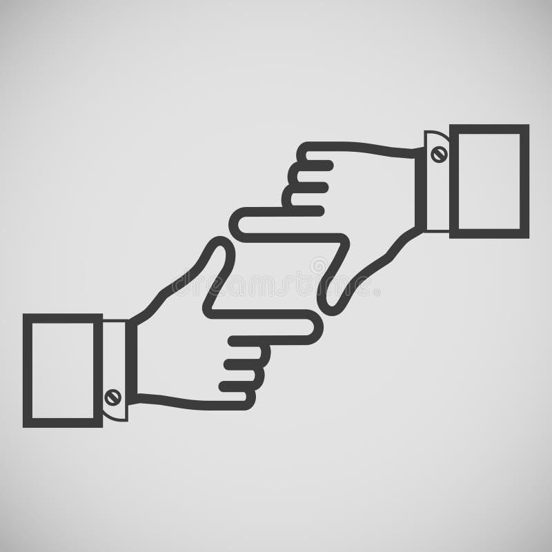 Przejrzysta ikona w postaci ramy palce z rękami ilustracja wektor