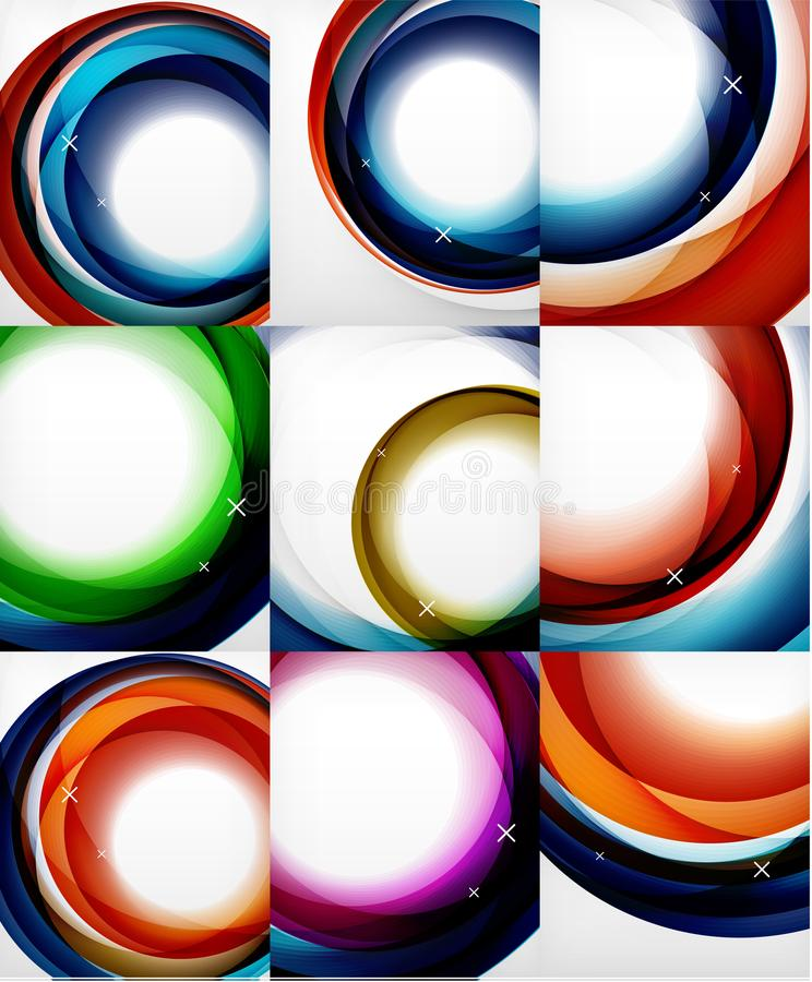 Przejrzysta kolor fala wykłada abstrakcjonistycznego tło set, glansowane szkło fala, wektorowi abstrakcjonistyczni tła, błyszcząc ilustracji