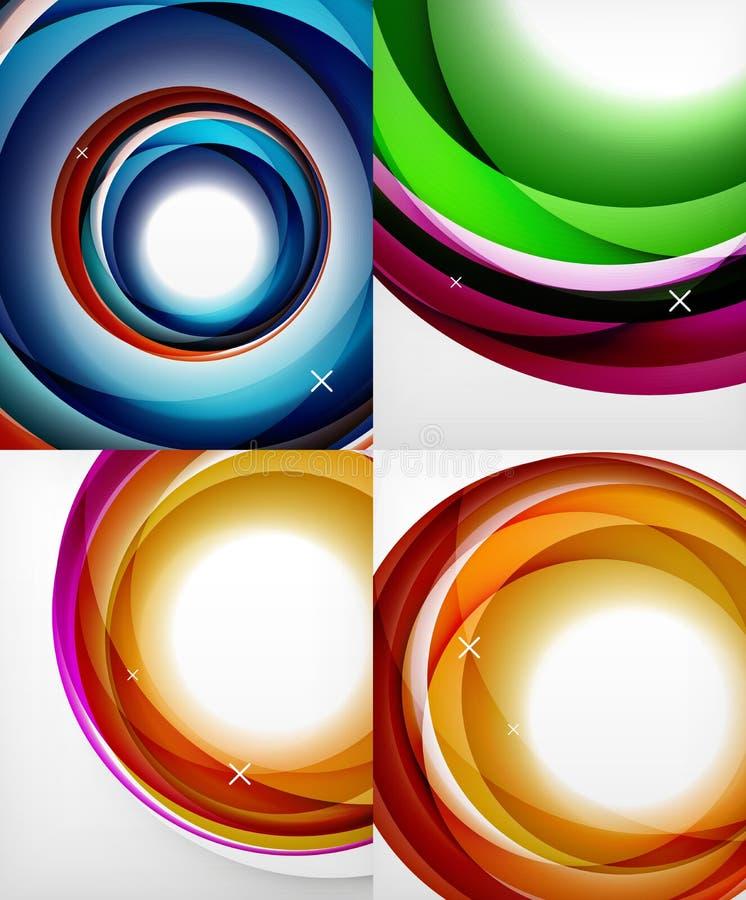 Przejrzysta kolor fala wykłada abstrakcjonistycznego tło set, glansowane szkło fala, wektorowi abstrakcjonistyczni tła, błyszcząc ilustracja wektor