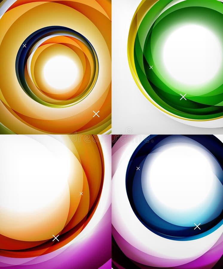 Przejrzysta kolor fala wykłada abstrakcjonistycznego tło set, glansowane szkło fala, wektorowi abstrakcjonistyczni tła, błyszcząc royalty ilustracja