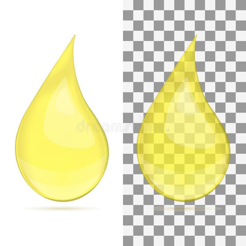 Przejrzysta olej kropla odizolowywająca na białym tle - wektor royalty ilustracja