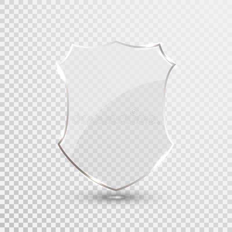 Przejrzysta osłona Zbawczego szkła odznaki ikona Prywatność Strażowy sztandar Ochrony osłony pojęcie Dekoracja Zabezpiecza elemen ilustracja wektor