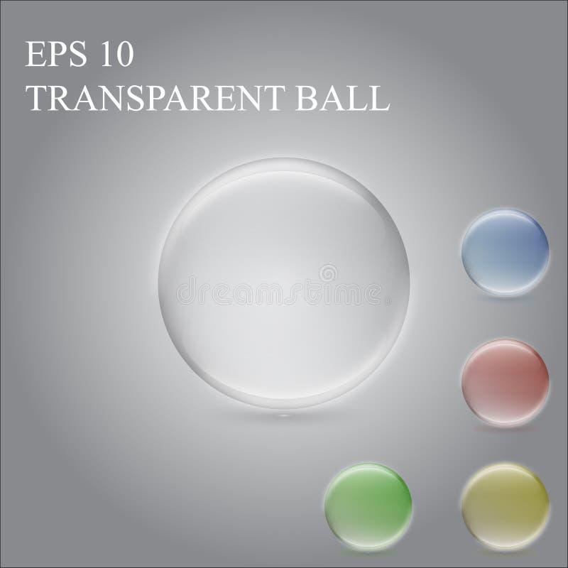 Przejrzysta piłka, barwiona sfera zdjęcia stock