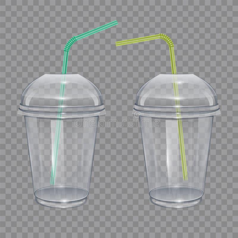 Przejrzysta plastikowa filiżanka z pić słoma Dla smoothie lub lemoniady Wektorowa ilustracja na przejrzystym tle ilustracja wektor