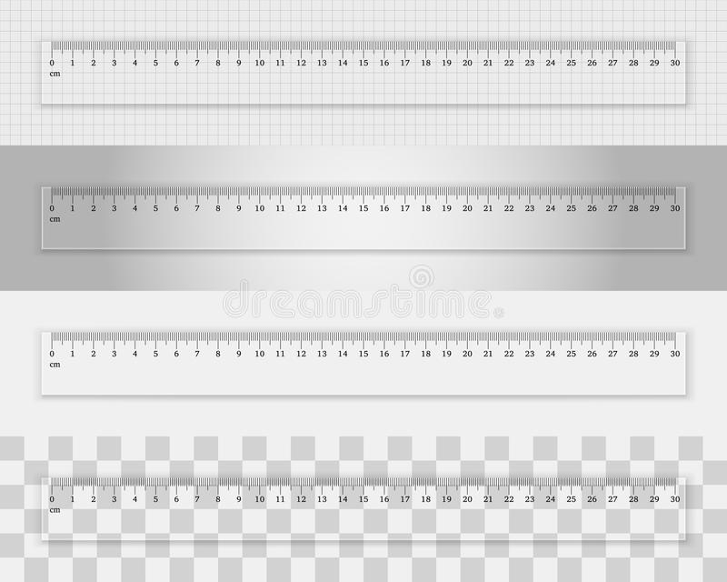 Przejrzysta plastikowa władca 30 centymetrów ilustracja wektor