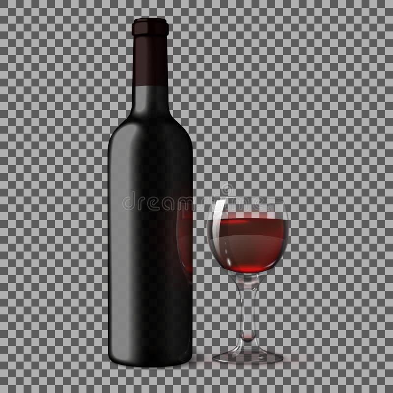 Przejrzysta pusta czarna realistyczna butelka dla czerwonego wina na szkockiej kraty tle z szkłem Vecto royalty ilustracja