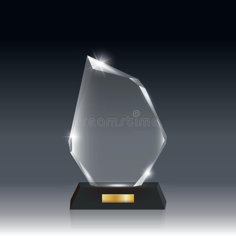 Przejrzysta Realistyczna Pusta Wektorowa Akrylowego szkła trofeum nagroda ilustracji