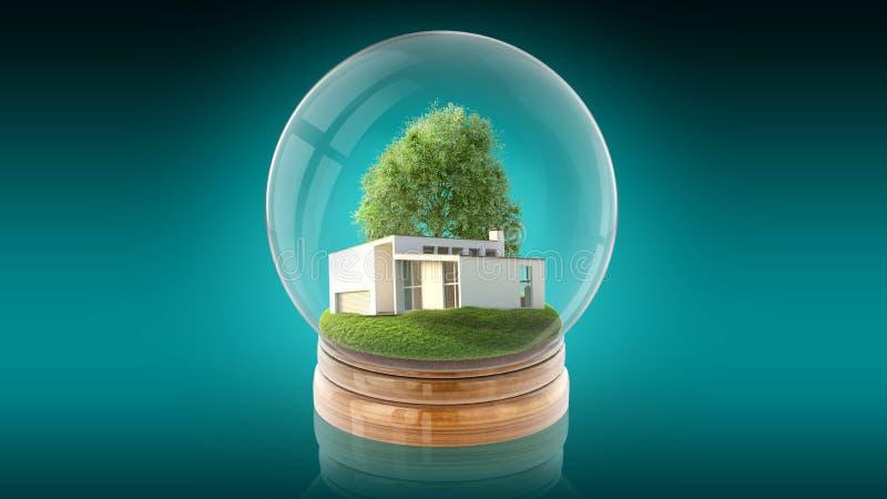 Przejrzysta sfery piłka z nowożytnym bielu domem inside świadczenia 3 d royalty ilustracja
