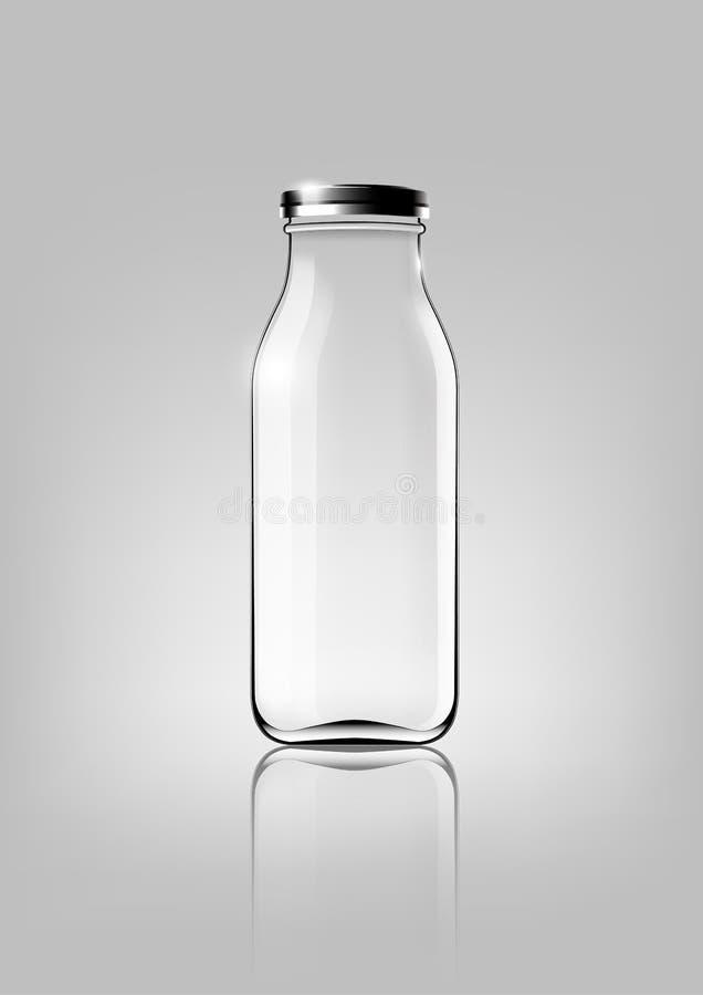 Przejrzysta szklana butelka dla projekta pakunku i reklamy, wektor ilustracja wektor