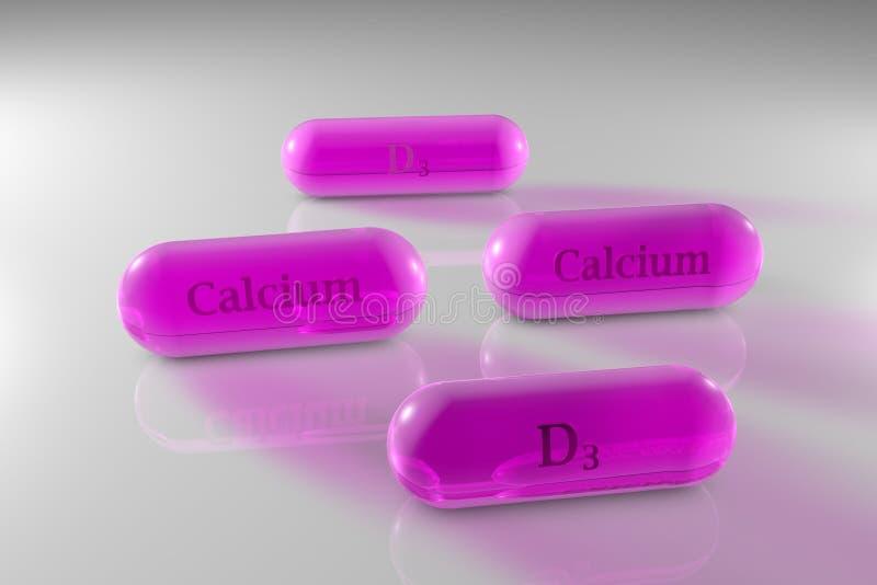 Przejrzysta witamina D3 i wapń kapsuły Cholecalciferol i wapń kapsuły Witaminy i kopaliny kompleks Zdrowy ilustracji