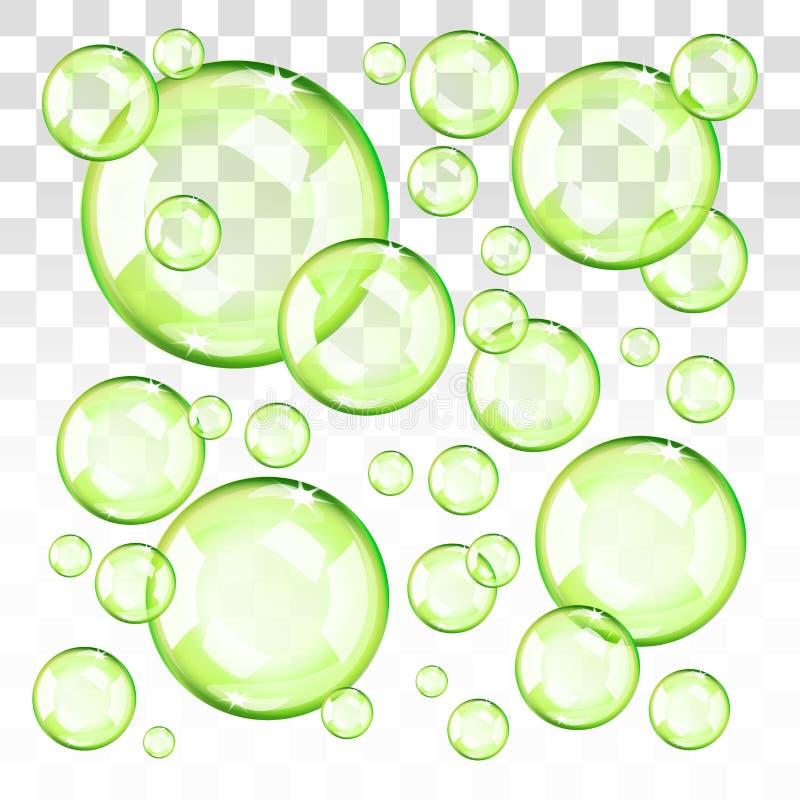 Przejrzysta zieleń gulgocze z przejrzystym tłem ilustracja wektor