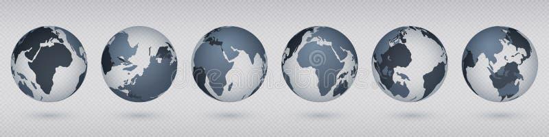 przejrzysta ziemska kula ziemska Realistycznego okręgu światowa mapa z usa Europa Azja, prosty abstrakta 3D kuli ziemskiej model  royalty ilustracja