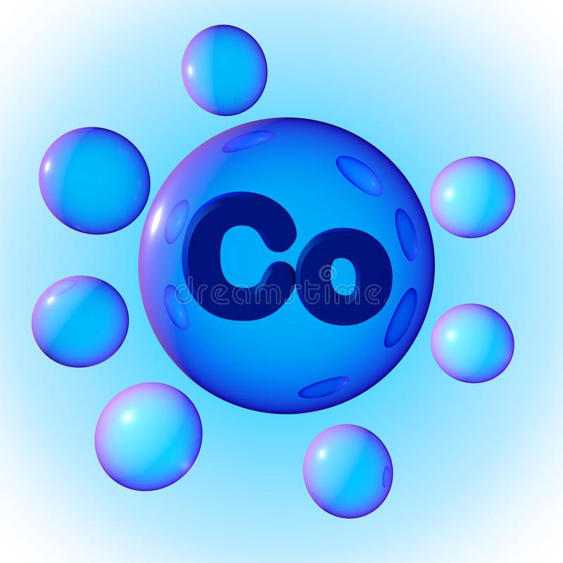 Przejrzyste błękitne kopalne kobalt pigułki na błękitnym tle Kopaliny i witaminy kompleks zdrowy pojęcia życie 3d royalty ilustracja