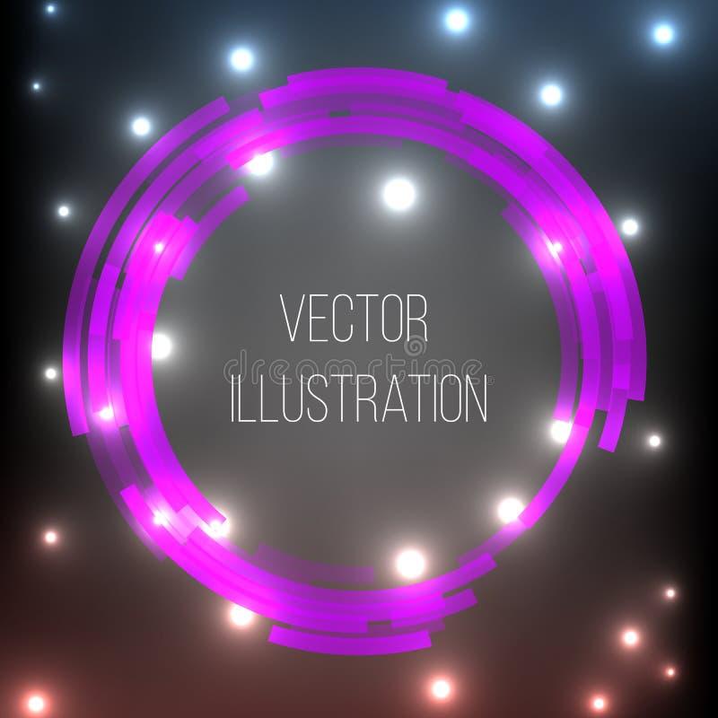 Przejrzyste purpury, czerń, round sztandar Abstrakcjonistyczny rozjarzony wektorowy zakres Jaskrawy lekki skutek Szablon neonowa  royalty ilustracja