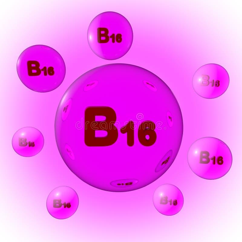 Przejrzyste różowe witaminy B16 pigułki na lodowiska tle Dimethylglycine kapsuły Witaminy i kopaliny kompleks 3d royalty ilustracja