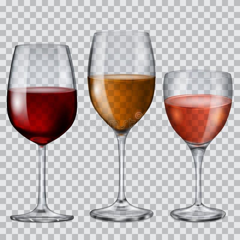 Przejrzyste szklane czara z winem ilustracji