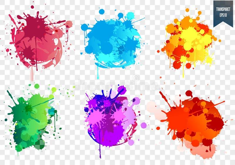 Przejrzysty farby pluśnięcia set ilustracji
