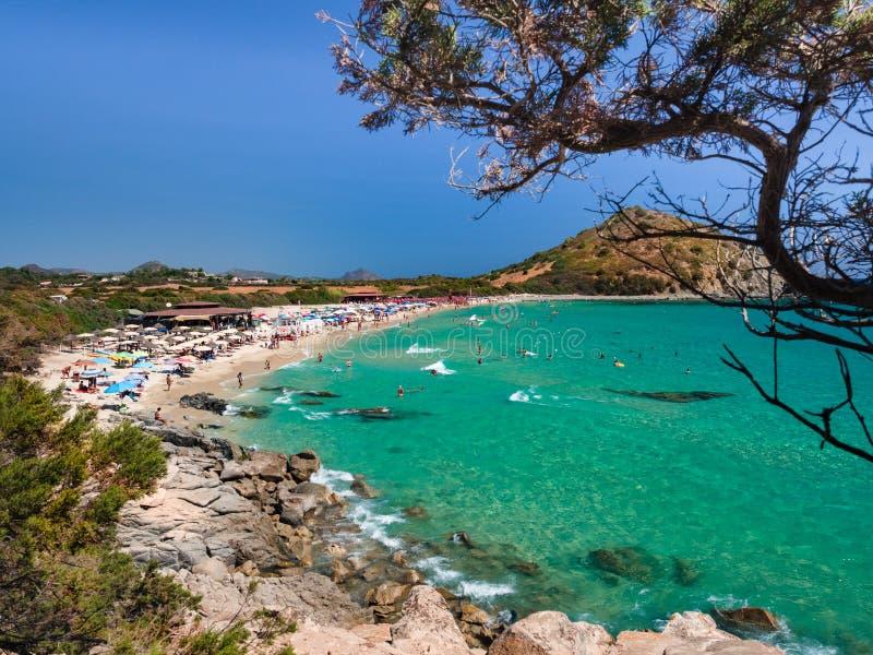 Przejrzysty i turkusowy morze w Cala Sinzias, Villasimius obraz stock