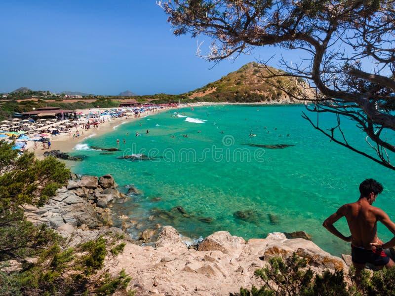 Przejrzysty i turkusowy morze w Cala Sinzias, Villasimius obraz royalty free