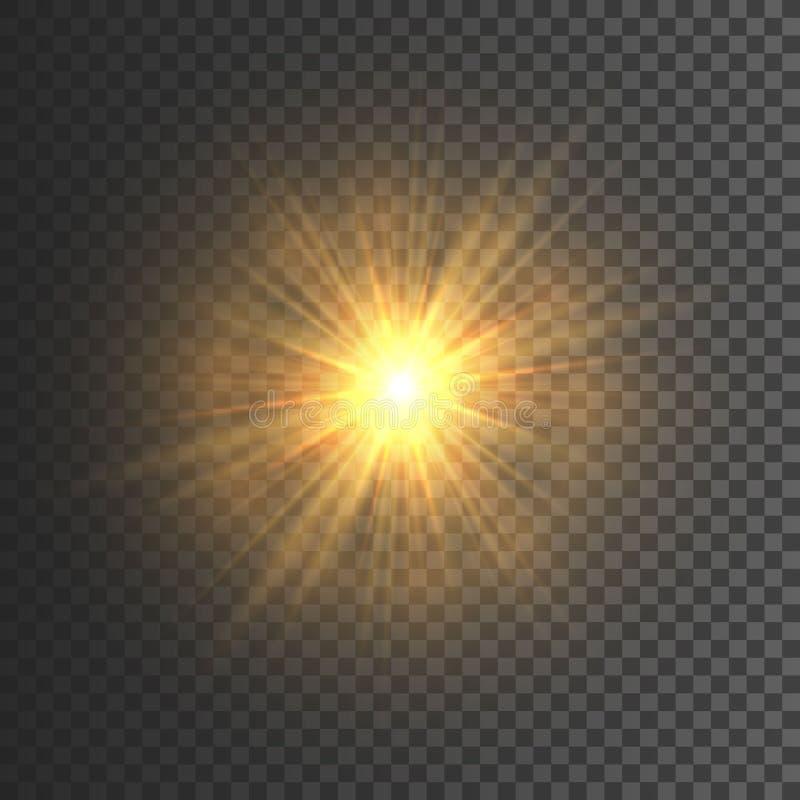 Przejrzysty jarzeniowy lekki skutek Gwiazdowy wybuch z Błyska błyskotliwości złoto również zwrócić corel ilustracji wektora royalty ilustracja