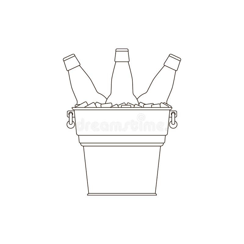 Przejrzysty kontur butelkuje piwo w metalu wiadrze z rękojeściami i kostka lodu na białym tle ilustracja wektor