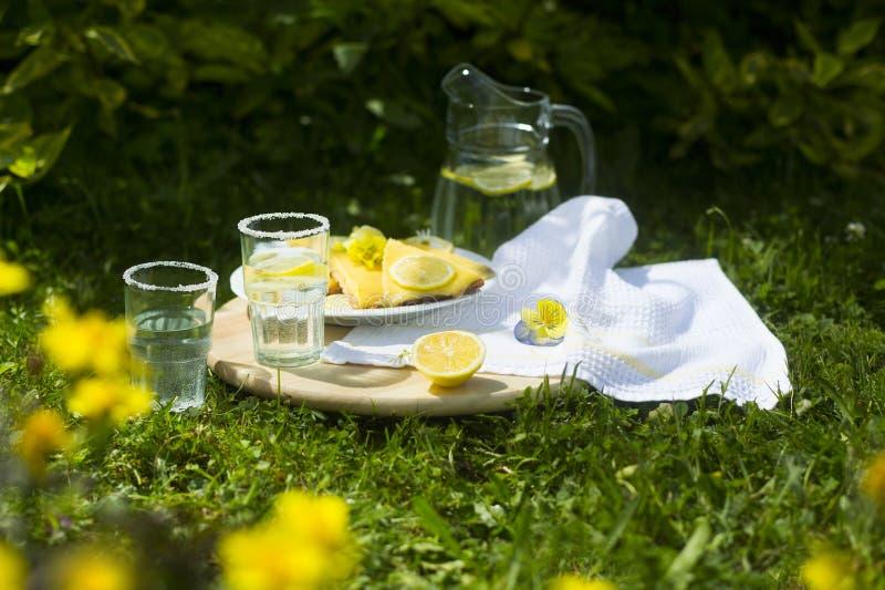 Przejrzysty miotacz z lemoniadą, cytryn szkłami, pasztetowymi i dwa fotografia royalty free