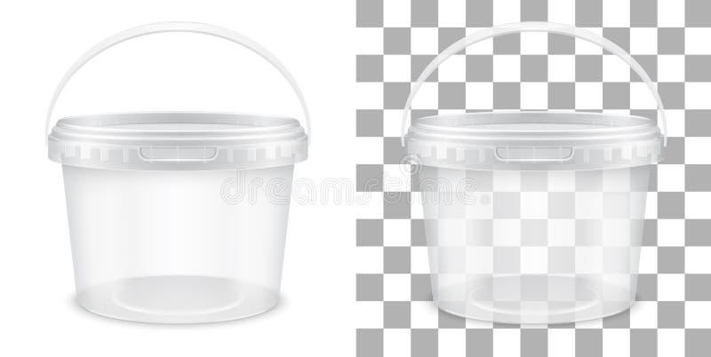 Przejrzysty pusty plastikowy wiadro dla magazynu jedzenie lub jedzenie ilustracja wektor