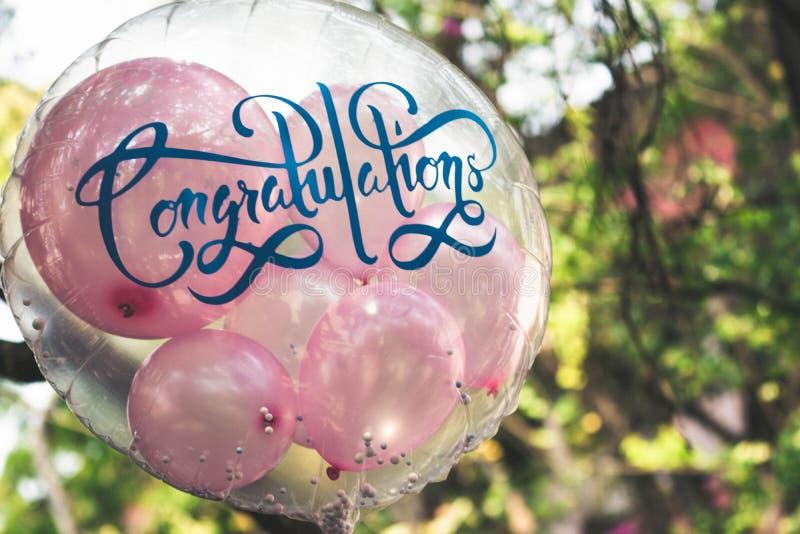 Przejrzysty round balon wkładający z małymi menchiami szybko się zwiększać dla witać cerebrację obraz royalty free