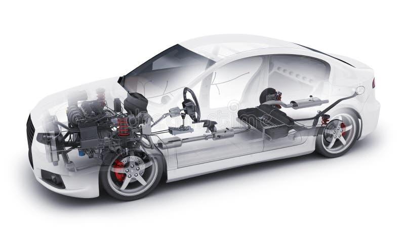 Przejrzysty samochód i wewnętrzne części royalty ilustracja