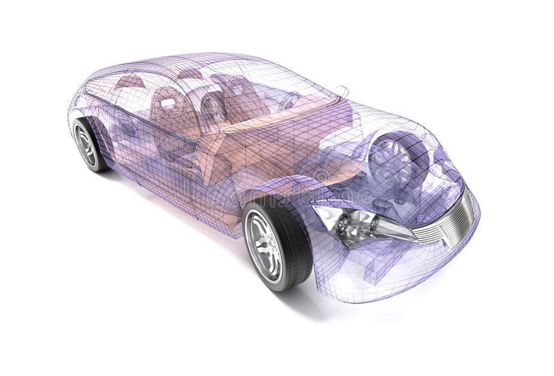 Przejrzysty samochodowy projekt, drutu model royalty ilustracja