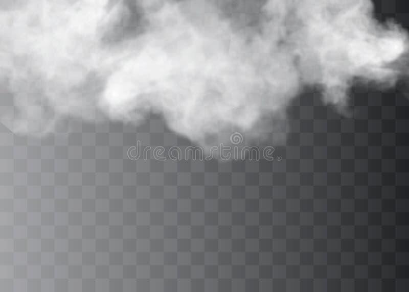 Przejrzysty specjalny skutek stoi out z mgłą lub dymem Bielu obłoczny wektor, mgła lub smog, ilustracji