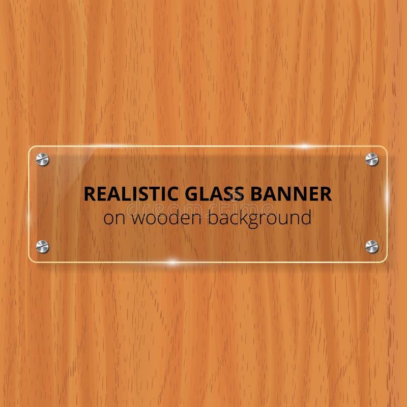Przejrzysty Szklanego talerza egzamin próbny Up brązowe drewniane tła Dekoracyjny graficznego projekta element Plastikowy glansow royalty ilustracja