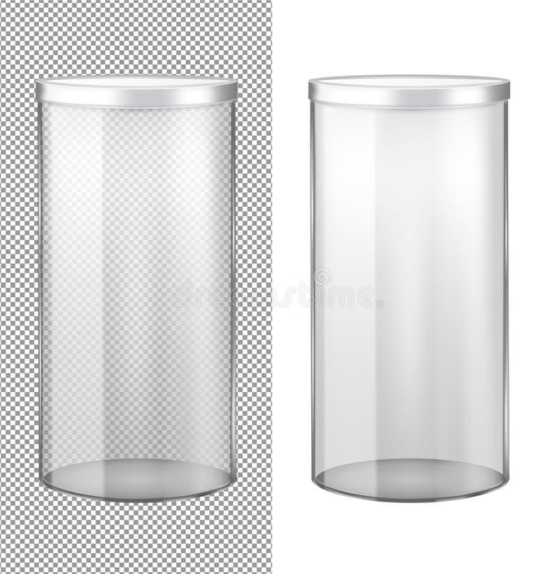 Przejrzysty szklany słój z metalu deklem royalty ilustracja