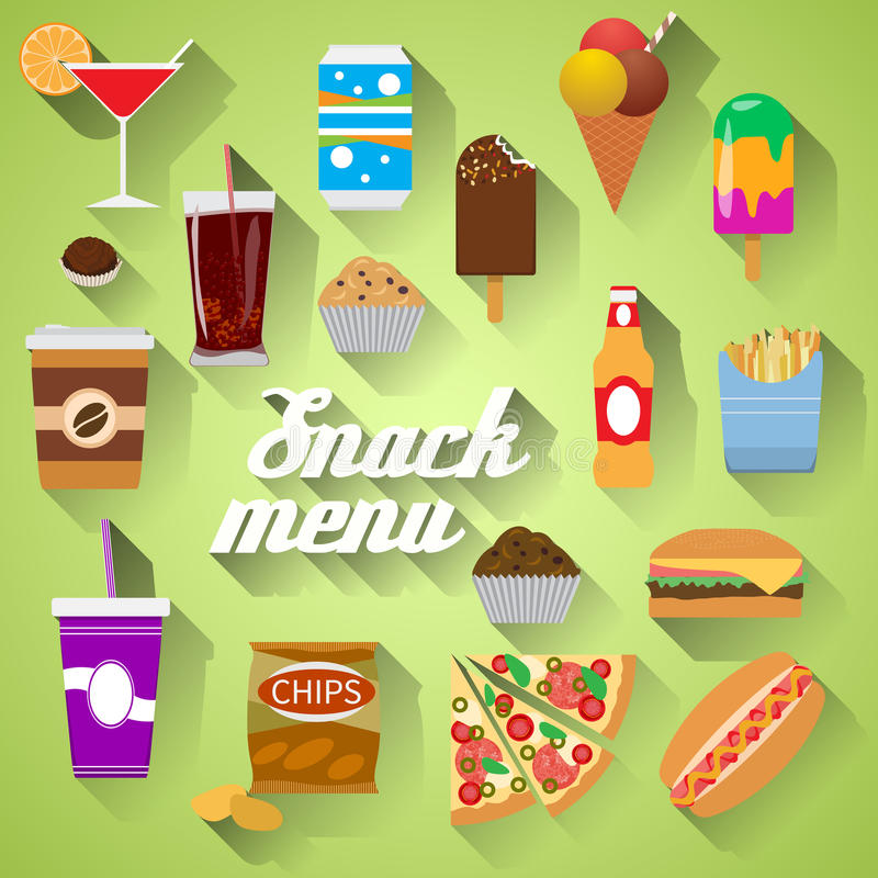 Przekąska menu Płaskiego projekta nowożytna wektorowa ilustracja jedzenie, napój, kawa, hamburger, pizza, piwo, koktajl, fastfood ilustracja wektor