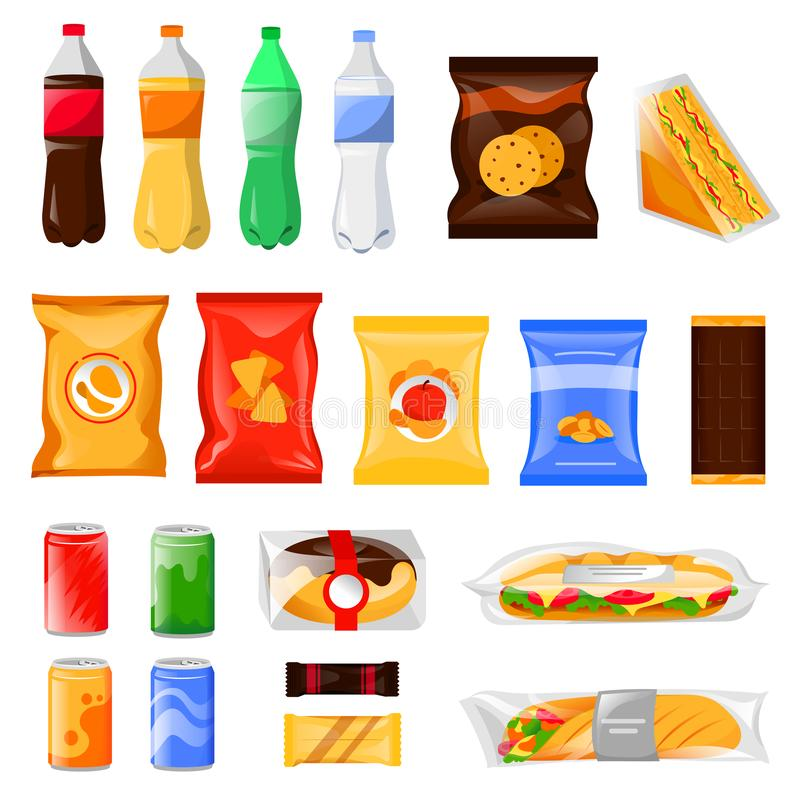 Przekąski i fasta food produkty ustawiający Kreskówka posiłek i napój wektorowa ilustracja, odizolowywająca na białym tle ilustracji