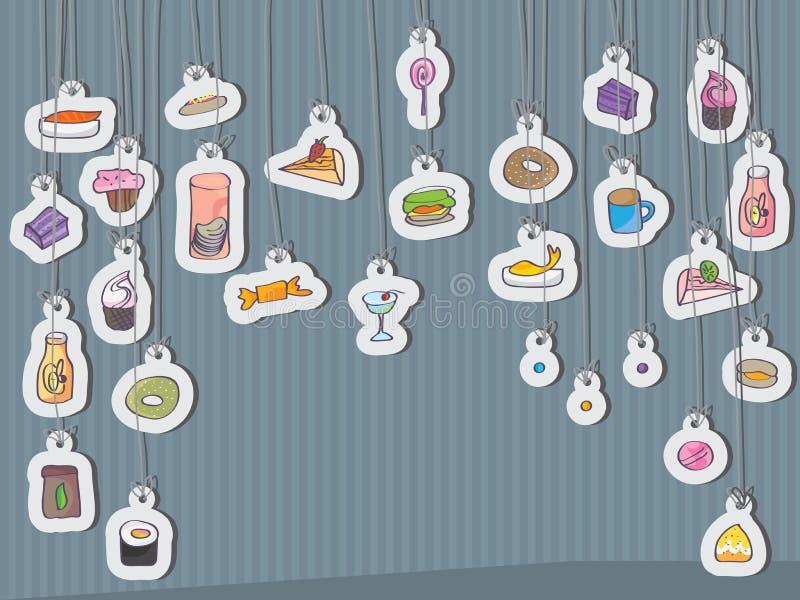 Przekąski jedzenia karty zrozumienie ilustracja wektor