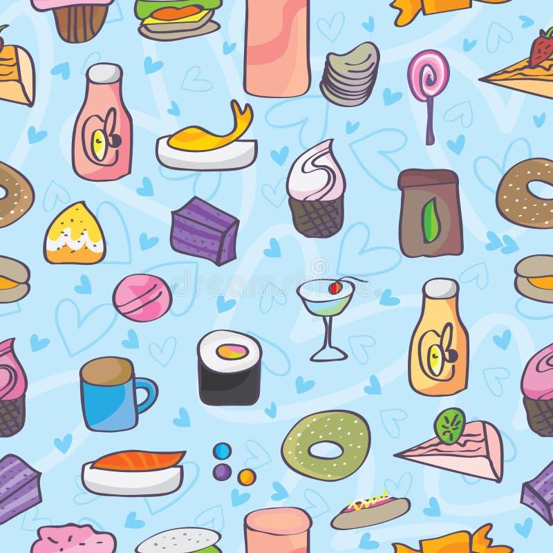 Przekąski jedzenia miłości Doodle Bezszwowy wzór ilustracja wektor