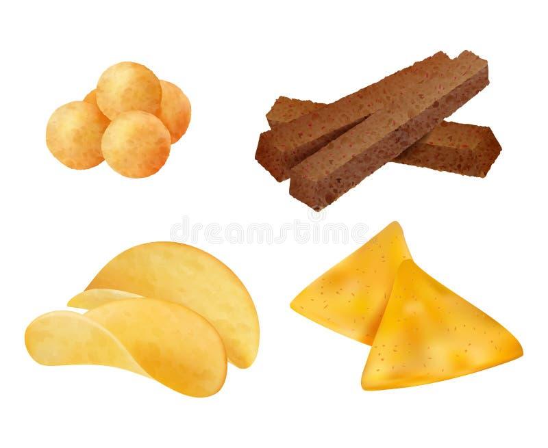 Przekąski Słone chrupiące śmiecie fast food chips ciasteczka kukurydziane wektor realistyczna kolekcja royalty ilustracja