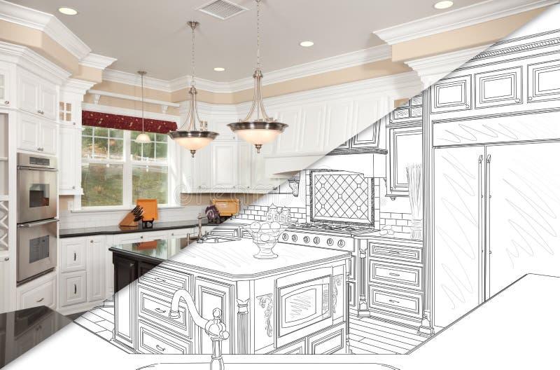 Przekątna rozłamu ekran rysunek i fotografia Nowa kuchnia obrazy stock