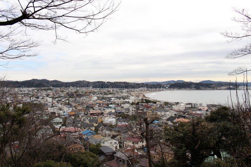 Przekład: Punktu obserwacyjnego widok Kamakura miasto od Hase-dera lub brzęczeń, fotografia royalty free