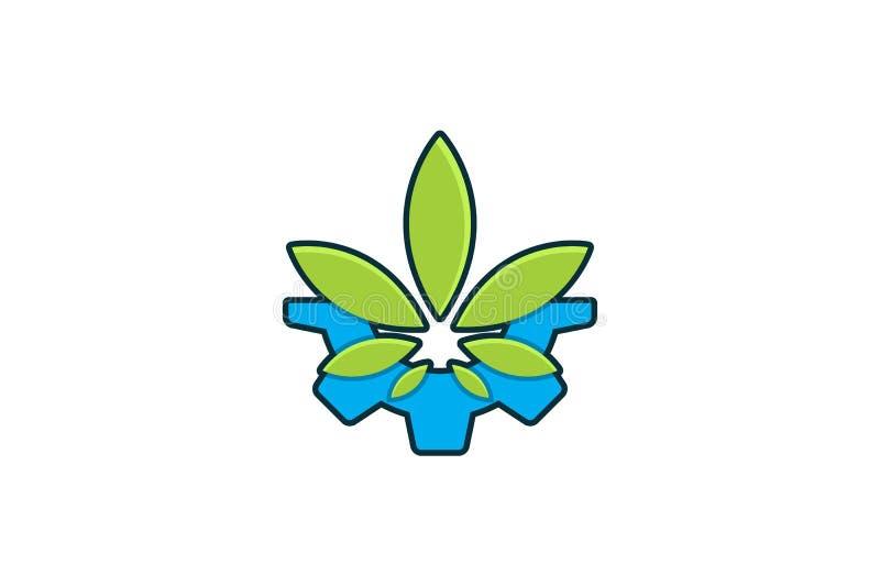 przekładni i marihuany liścia logo Projektuje inspirację Odizolowywającą na Białym tle royalty ilustracja