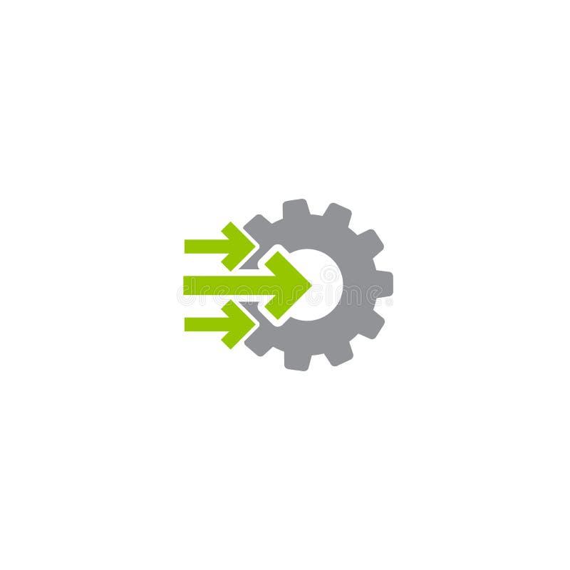 Przekładni i trzy dobro strzała zielona ikona odizolowywająca na bielu Zieleń i siwieje kolory ilustracja wektor